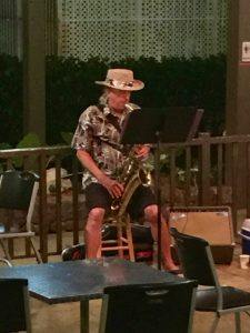 A saxophone player in Hawaii.