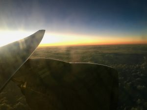 Picture of sunset from an airplane.