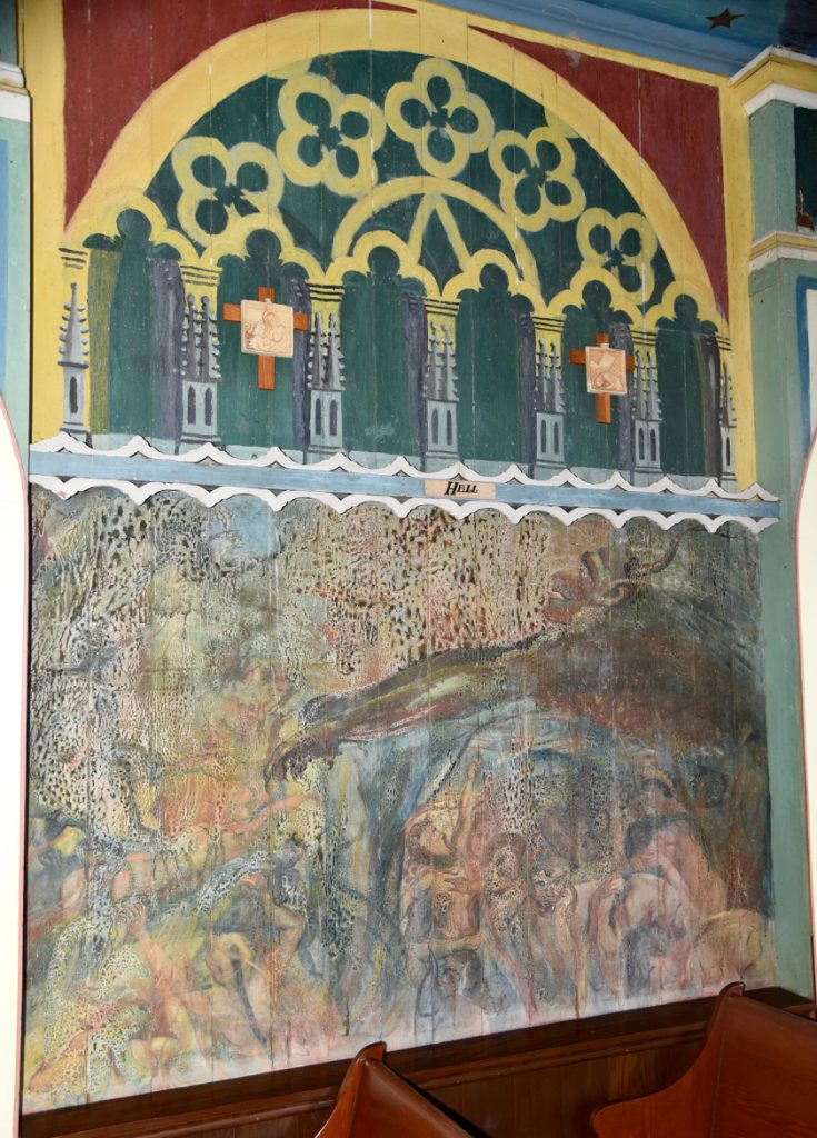 Mural of Hell at The Painted Church
