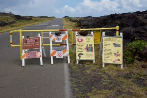 Warning signs if you want to see the lava flow at Volcano National Park in Hawaii.